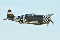 O P-47 Thunderbolt ou Jug foi considerado o maior e mais pesado caça bombardeiro da Segunda Guerra. Foi utilizado em grande escala pela USAAF nos céus da Europa até ser substituído pelo famosos P-51 Mustang. O P-47 foi o caça bombardeiro preferido pelos pilotos aliados. Além de outras características, possuía um sólido e durável motor radial. refrigerado a ar. Especificações Técnicas: Envergadura: 12,4m, comprimento: 11,03m, veloc. máx.: 689km/h, teto de serviço: 12.810m, alacance máx.: 1610km com tanques descartáveis, armamentos: 6 ou 8 metralhadoras Browning .50 , uma bomba de 500lb ou 2 bombas de 1000lb e 10 foguetes de 5 polegadas.